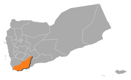 western asia: Political map of Yemen with the several governorates where Lahij is highlighted.