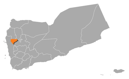 Political map of Yemen with the several governorates where Al Mahwit is highlighted. Stock Vector - 11393056