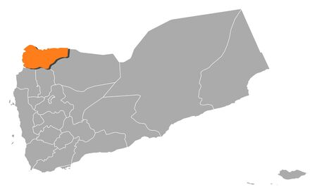 Political map of Yemen with the several governorates where Saada is highlighted.