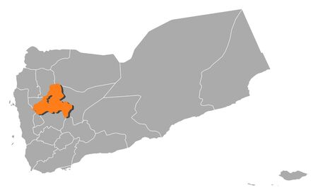 southwestern asia: Political map of Yemen with the several governorates where Sanaa Governorate is highlighted.
