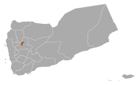 southwestern asia: Political map of Yemen with the several governorates where Sanaa is highlighted. Illustration