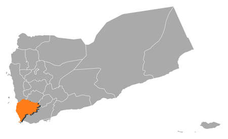 southwestern asia: Political map of Yemen with the several governorates where Taizz is highlighted. Illustration