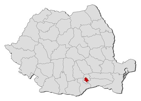 bucuresti: Political map of Romania with the several counties where Bucharest is highlighted. Illustration