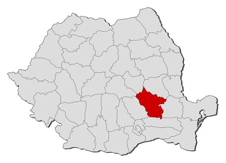 Political map of Romania with the several counties where Buzau is highlighted. Vector