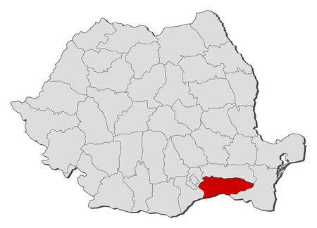 counties: Political map of Romania with the several counties where Calarasi is highlighted.