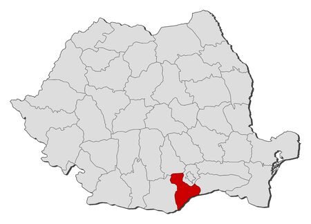 Political map of Romania with the several counties where Giurgiu is highlighted. Vector