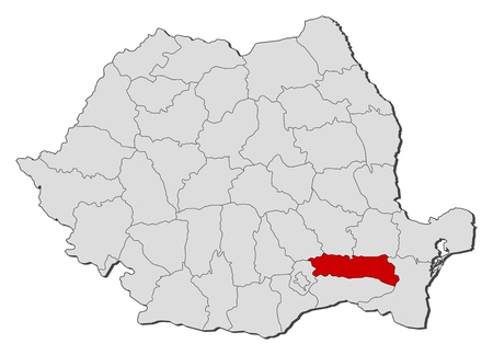 Political map of Romania with the several counties where Ialomita is highlighted. Vector