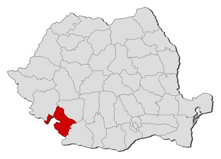 Political map of Romania with the several counties where Mehedinti is highlighted. Vector