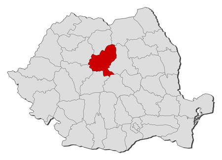Political map of Romania with the several counties where Mures is highlighted. Vector