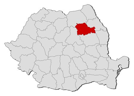 Political map of Romania with the several counties where Neamt is highlighted. Vector