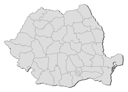 Political map of Romania with the several counties. Vector