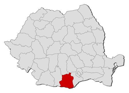 Political map of Romania with the several counties where Teleorman is highlighted. Vector