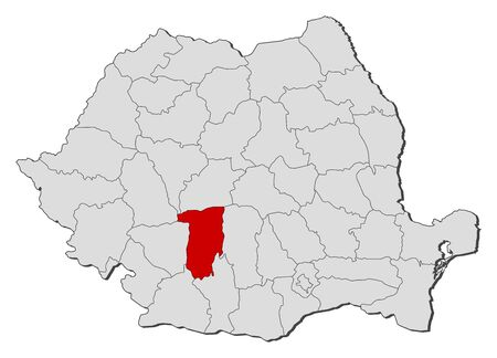 counties: Political map of Romania with the several counties where V�lcea is highlighted.