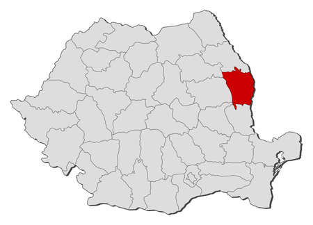 counties: Political map of Romania with the several counties where Vaslui is highlighted.