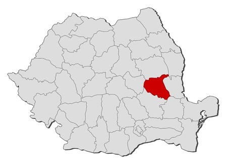 Political map of Romania with the several counties where Vrancea is highlighted. Vector