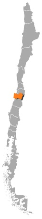 highlighted: La mappa politica del Cile con le varie regioni in cui si evidenzia O'Higgins.