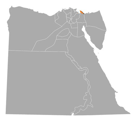 said: Political map of Egypt with the several governorates where Port Said is highlighted. Illustration