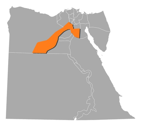 giza: Political map of Egypt with the several governorates where Giza is highlighted. Illustration
