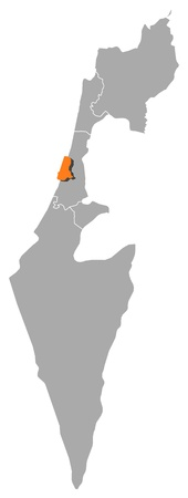 Political map of Israel with the several districts where Tel Aviv is highlighted. Illustration