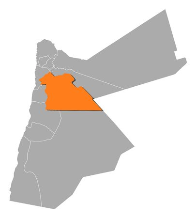 southwestern asia: Political map of Jordan with the several governorates where Amman is highlighted.