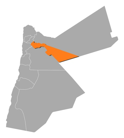 southwestern asia: Political map of Jordan with the several governorates where Zarqa is highlighted.