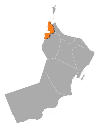 al: Political map of Oman with the several regions and governorats where Al Buraimi is highlighted.