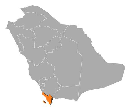 southwestern asia: Political map of Saudi Arabia with the several provinces where Jizan is highlighted.