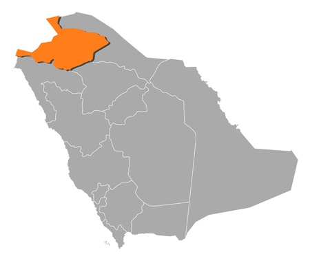 al: Political map of Saudi Arabia with the several provinces where Al Jawf is highlighted. Illustration