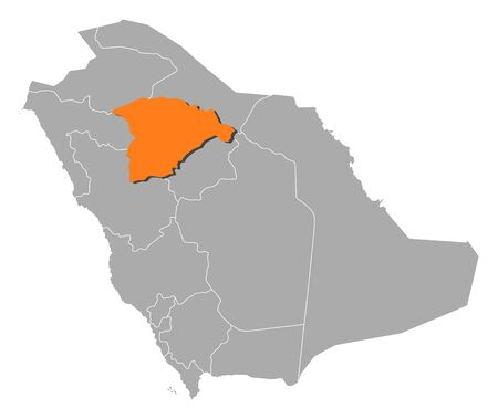 hail: Political map of Saudi Arabia with the several provinces where Hail is highlighted.