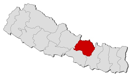 zones: Political map of Nepal with the several zones where Bagmati is highlighted. Illustration