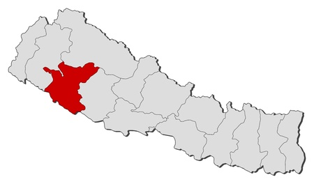 Political map of Nepal with the several zones where Bheri is highlighted.