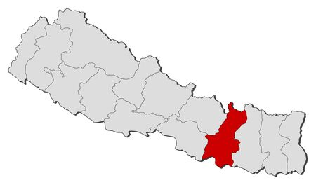 zones: Political map of Nepal with the several zones where Janakpur is highlighted.