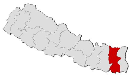 zones: Political map of Nepal with the several zones where Koshi is highlighted.