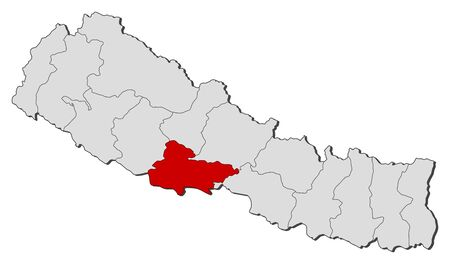 zones: Political map of Nepal with the several zones where Lumbini is highlighted.