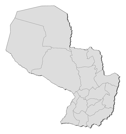 Political map of Paraguay with the several departments. Vector