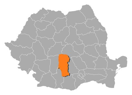 orange county: Political map of Romania with the several counties where Arges is highlighted.