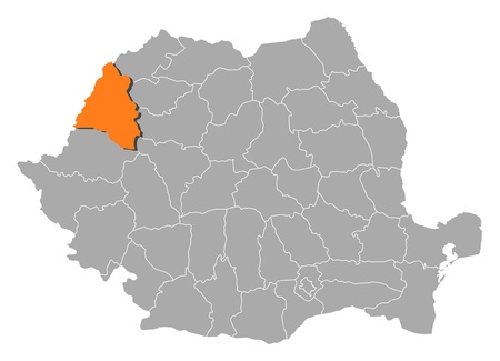 orange county: Political map of Romania with the several counties where Bihor is highlighted.