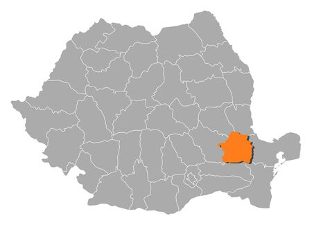 counties: Political map of Romania with the several counties where Braila is highlighted. Illustration