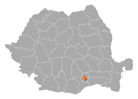 orange county: Political map of Romania with the several counties where Bucharest is highlighted. Illustration