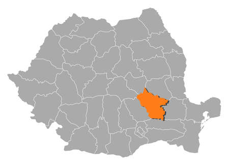 orange county: Political map of Romania with the several counties where Buzau is highlighted. Illustration