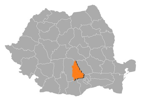 orange county: Political map of Romania with the several counties where Dâmbovita is highlighted.