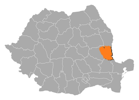 galati: Political map of Romania with the several counties where Galati is highlighted. Illustration