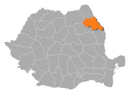 orange county: Political map of Romania with the several counties where Iasi is highlighted. Illustration
