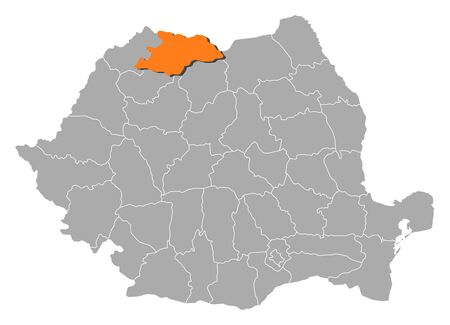 orange county: Political map of Romania with the several counties where Maramures is highlighted. Illustration