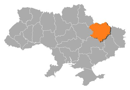 Political map of Ukraine with the several oblasts where Kharkiv is highlighted. Vector