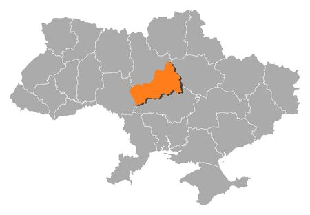 Political map of Ukraine with the several oblasts where Cherkasy is highlighted. Vector