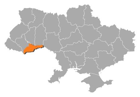 chernivtsi: Political map of Ukraine with the several oblasts where Chernivtsi is highlighted. Illustration