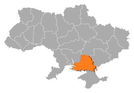 Political map of Ukraine with the several oblasts where Kherson is highlighted. Vector