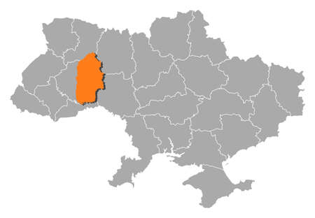 Political map of Ukraine with the several oblasts where Khmelnytskyi is highlighted. Vector