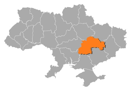 Political map of Ukraine with the several oblasts where Dnipropetrovsk is highlighted. Vector